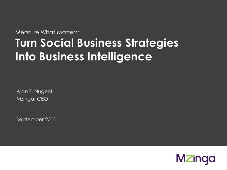 Measure What Matters: <br />Turn Social Business Strategies Into Business Intelligence<br />Alan F. NugentMzinga, CEO<br /...