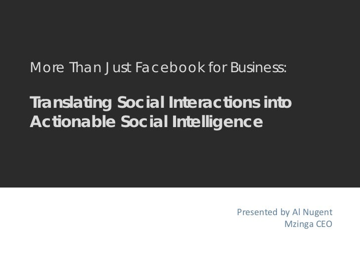 More Than Just Facebook for Business:  Translating Social Interactions into Actionable Social Intelligence - BDI 3/23/11 The Social Consumer: Case Studies & Roundtables