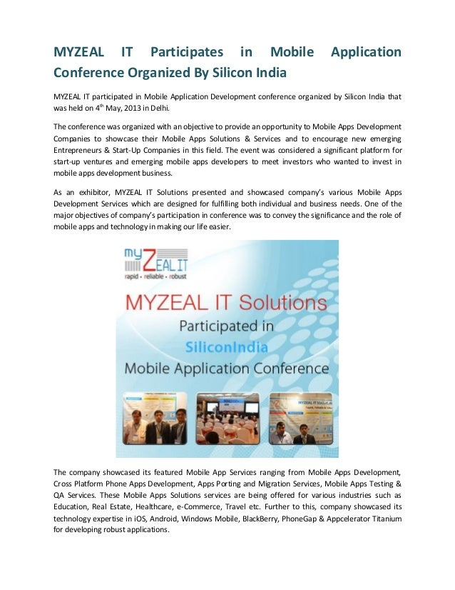 MYZEAL IT Participates in Mobile ApplicationConference Organized By Silicon IndiaMYZEAL IT participated in Mobile Applicat...