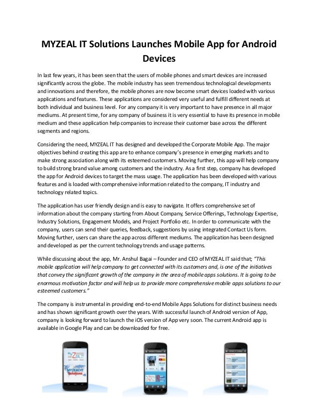 MYZEAL IT Solutions Launches Mobile App for Android Devices