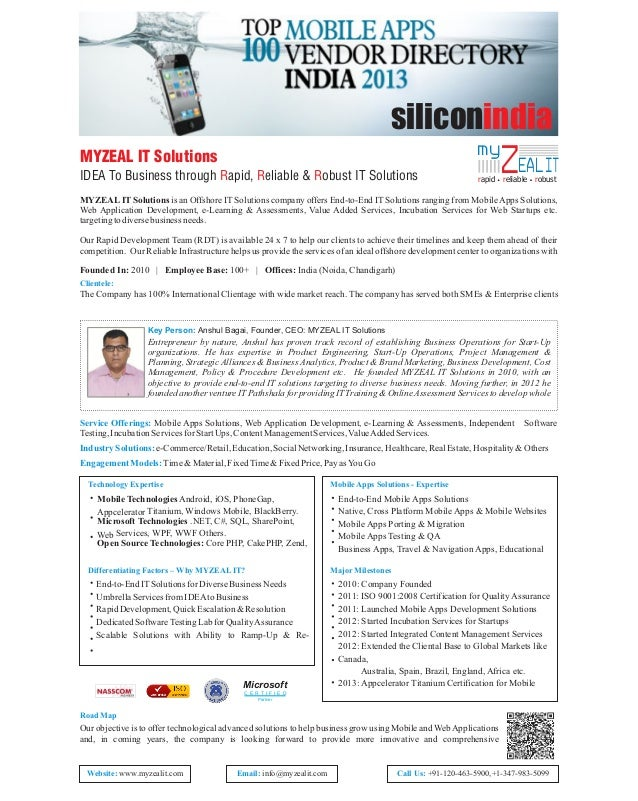 siliconindia my  MYZEAL IT Solutions IDEA To Business through Rapid, Reliable & Robust IT Solutions  ZEAL IT  rapid reliab...