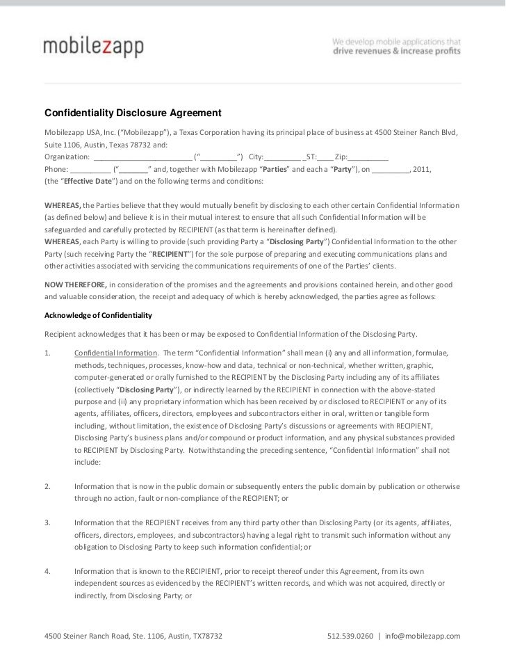 "Confidentiality Disclosure Agreement<br />Mobilezapp USA, Inc. (""Mobilezapp""), a Texas Corporation having its principal pl..."