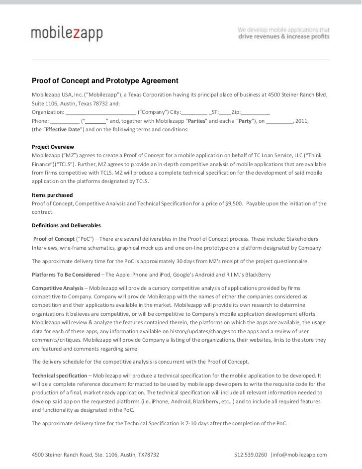 "Proof of Concept and Prototype Agreement<br />Mobilezapp USA, Inc. (""Mobilezapp""), a Texas Corporation having its principa..."