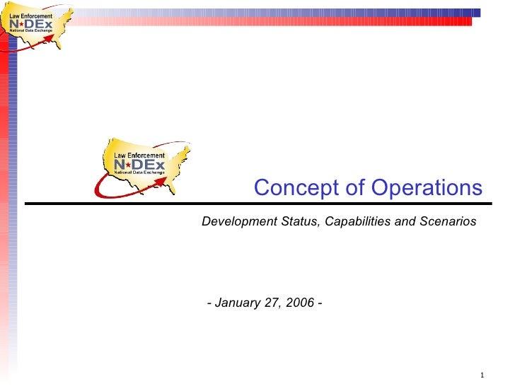 Concept of Operations  Development Status, Capabilities and Scenarios  - January 27, 2006 -