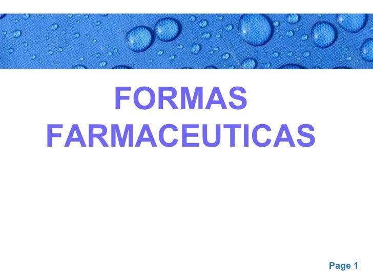 Formas Farmacéuticas