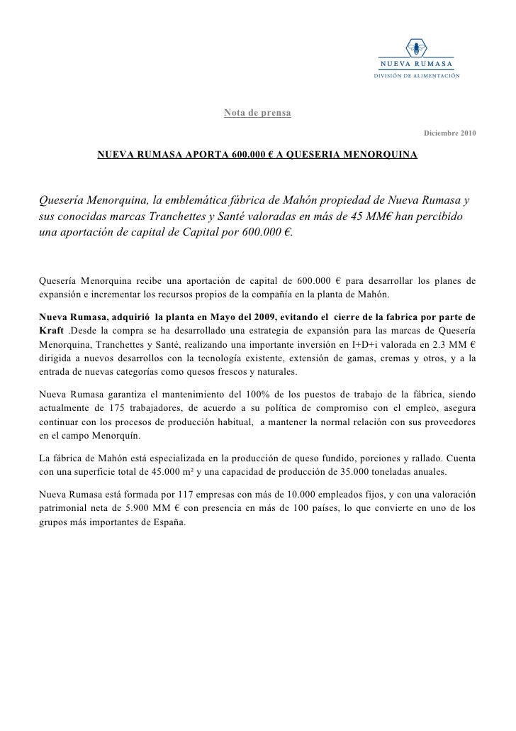 Nueva Rumasa aporta 600 000 a Queseria Menorquina