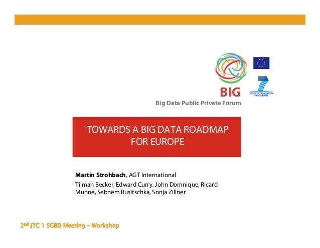2nd JTC 1 SGBD Meeting - Workshop BIG Big Data Public Private Forum TOWARDS A BIG DATA ROADMAP FOR EUROPE Martin Strohbach...