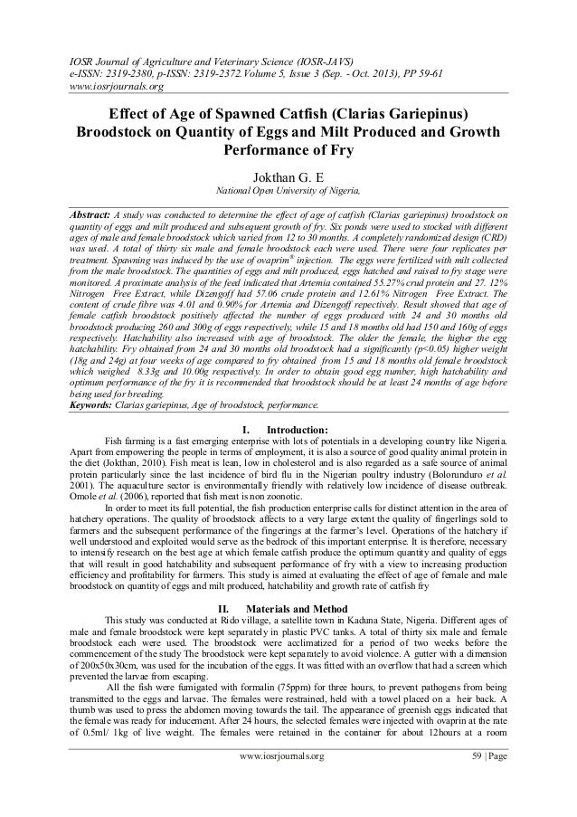 Effect of Age of Spawned Catfish (Clarias Gariepinus) Broodstock on Quantity of Eggs and Milt Produced and Growth Performance of Fry