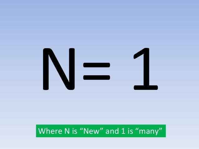"""Where N is """"New"""" and 1 is """"many"""""""