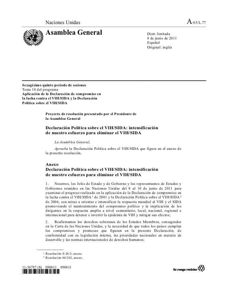 Declaracion Politica sobre VIH/SIDA 2011
