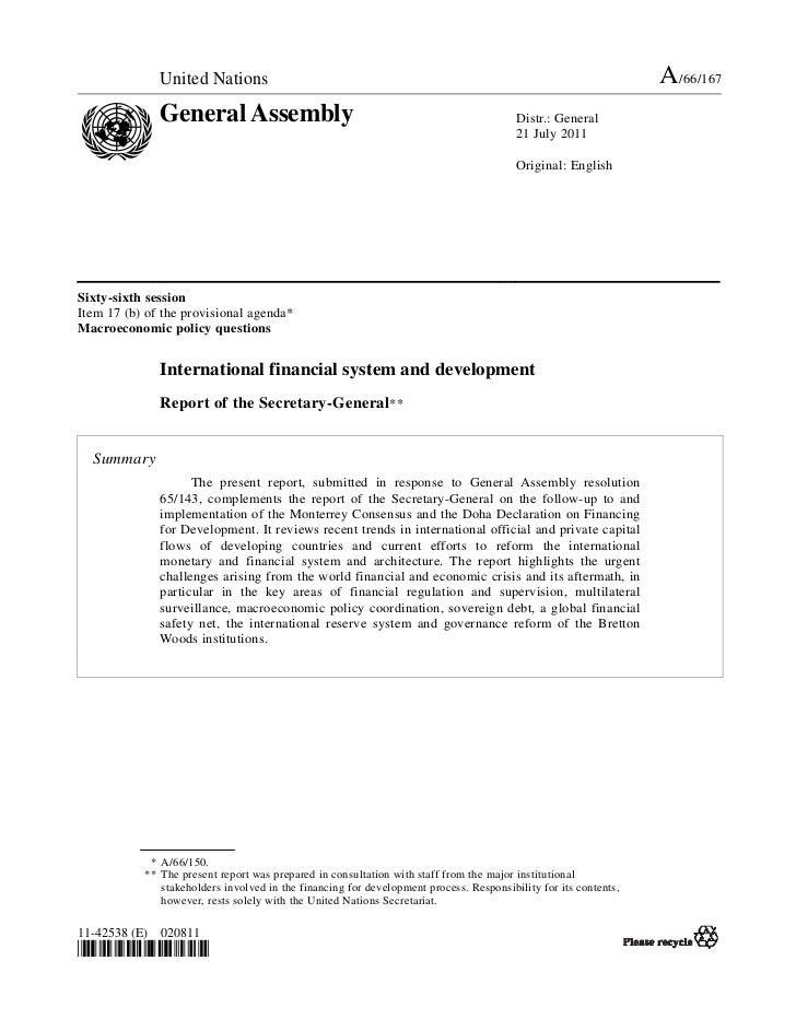 International financial system and development -  Report of the Secretary-General
