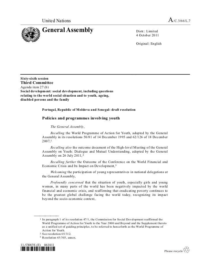 2011 - General Assembly Draft Resolution on Policies and Programmes involving Youth, A/C.3/66/L.7