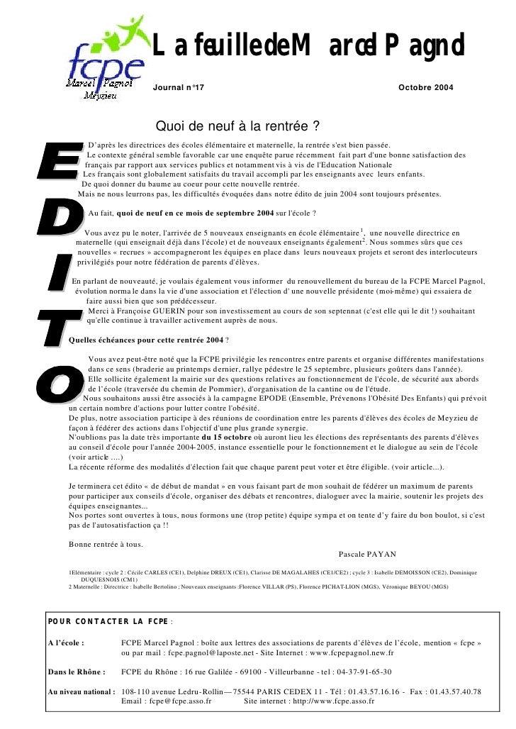 La feuille de Marcel Pagnol                                     Journal n°17                                              ...