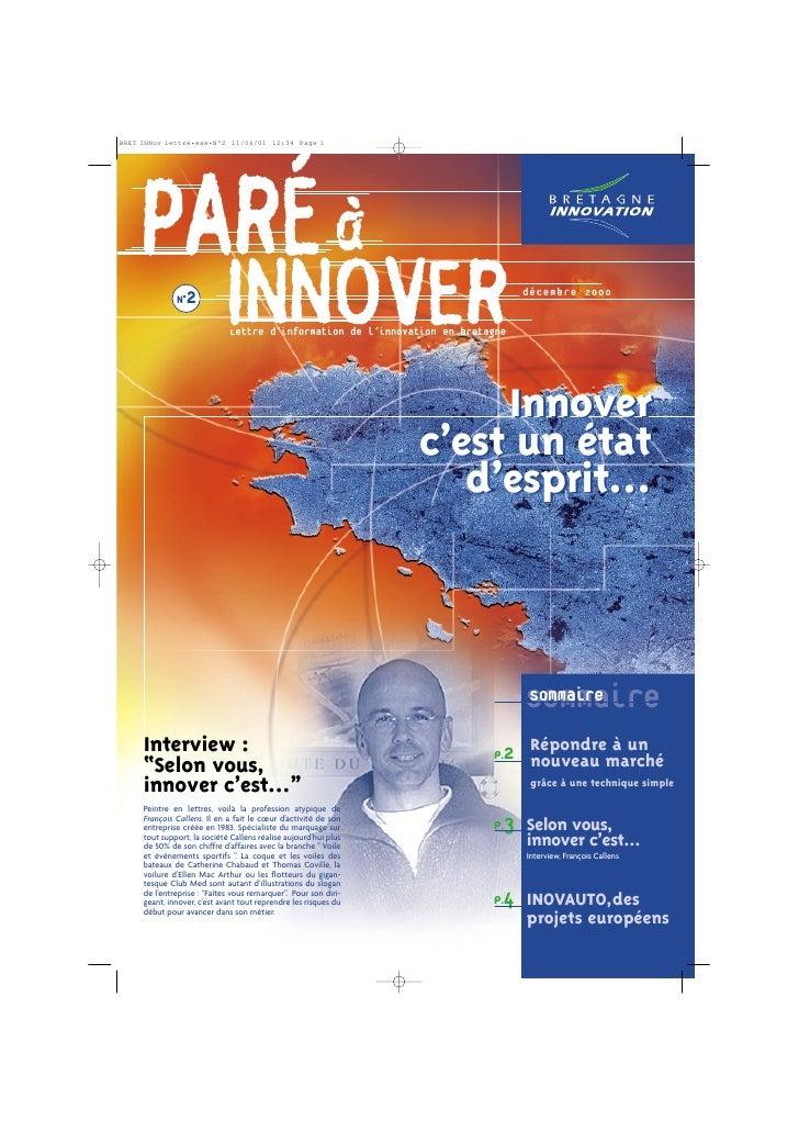 PARÉ à   N°2                      INNOVER                        Lettre d'information de l'innovation en bretagne         ...