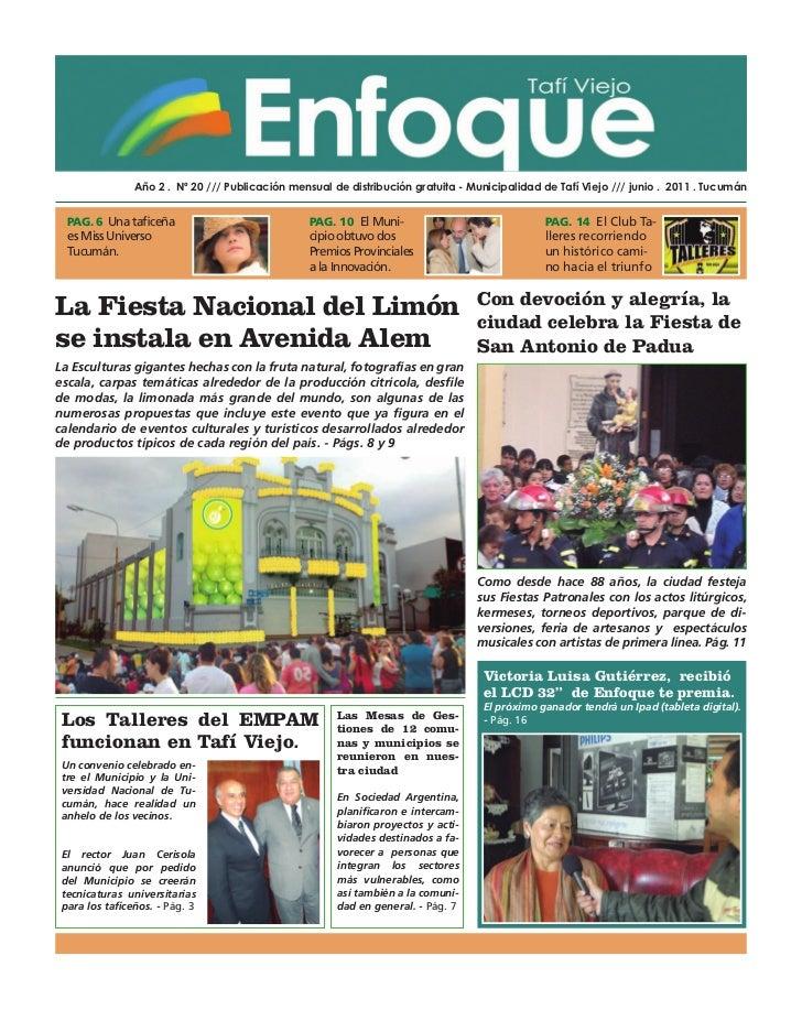 Año 2 . Nº 20 /// Publicación mensual de distribución gratuita - Municipalidad de Tafí Viejo /// junio . 2011 . Tucumán  P...