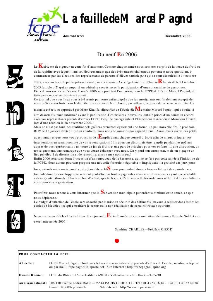 La feuille de Marcel Pagnol                                    Journal n°22                                               ...