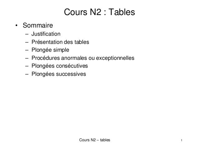 Cours N2 – tables 1 Cours N2 : Tables • Sommaire – Justification – Présentation des tables – Plongée simple – Procédures a...