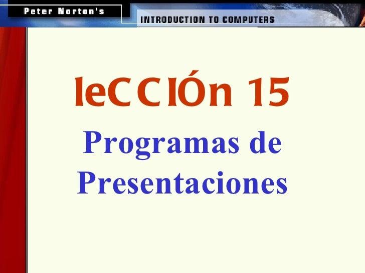 Programas de Presentaciones leCCIÓn 15