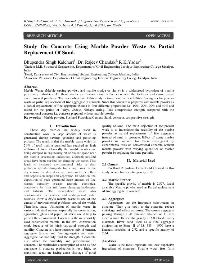 partial replacement of cement by marble powder Effect on partial replacement of fine aggregate and cement by waste marble powder/ granules wwwiosrjournalsorg 111 | page.