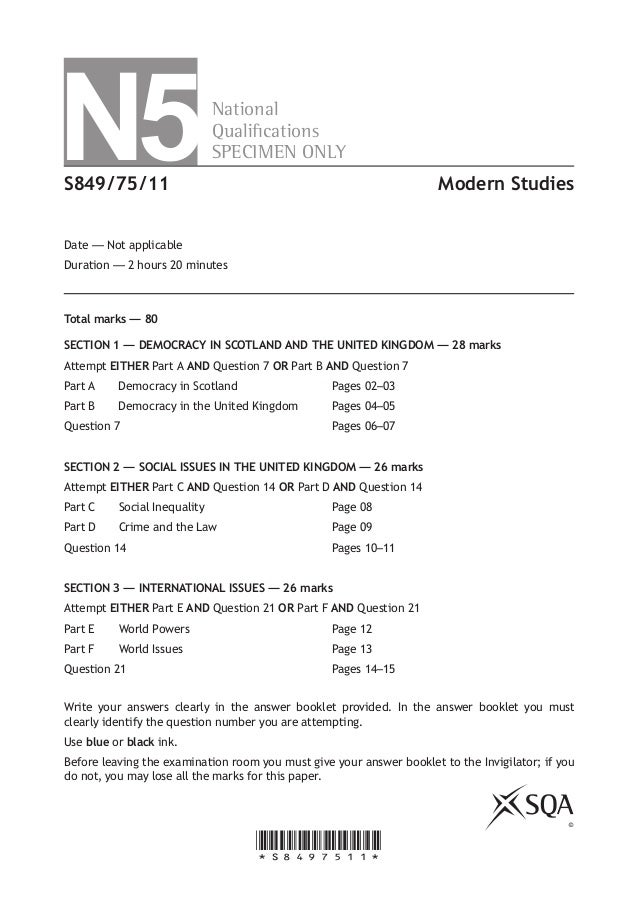 N5  National Qualications SPECIMEN ONLY  SQ31/N5/01  Modern Studies  Date — Not applicable Duration — 1 hour and 30 minut...