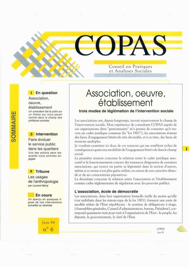 - En question  Association, Oeuvre,  établíssement  Un Consultant fait le point sur un thème qui nous parait central dans ...