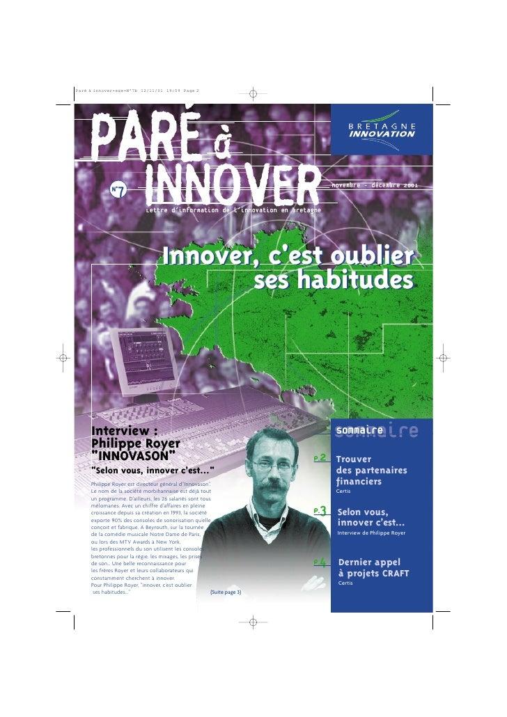 PARÉ à  N°7                      INNOVER                        Lettre d'information de l'innovation en bretagne          ...