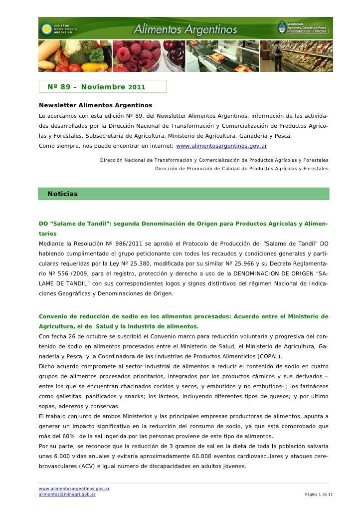 Nº 89 – Noviembre 2011Newsletter Alimentos ArgentinosLe acercamos con esta edición Nº 89, del Newsletter Alimentos Argenti...
