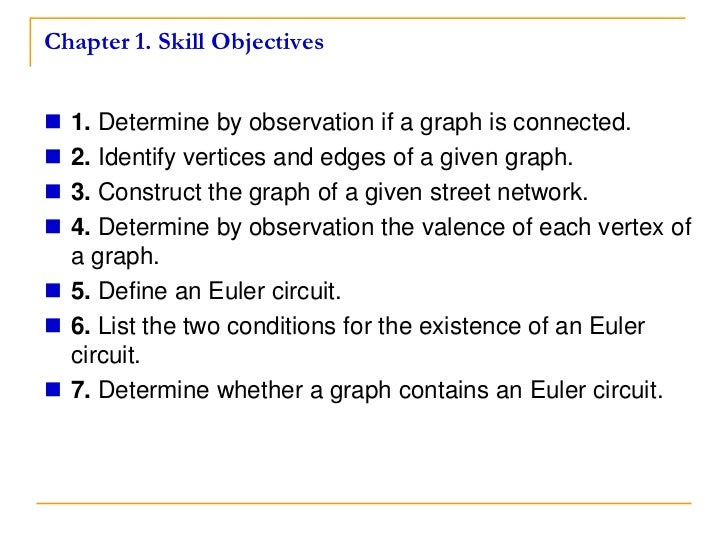 Chapter 1. Skill Objectives 1. Determine by observation if a graph is connected. 2. Identify vertices and edges of a giv...