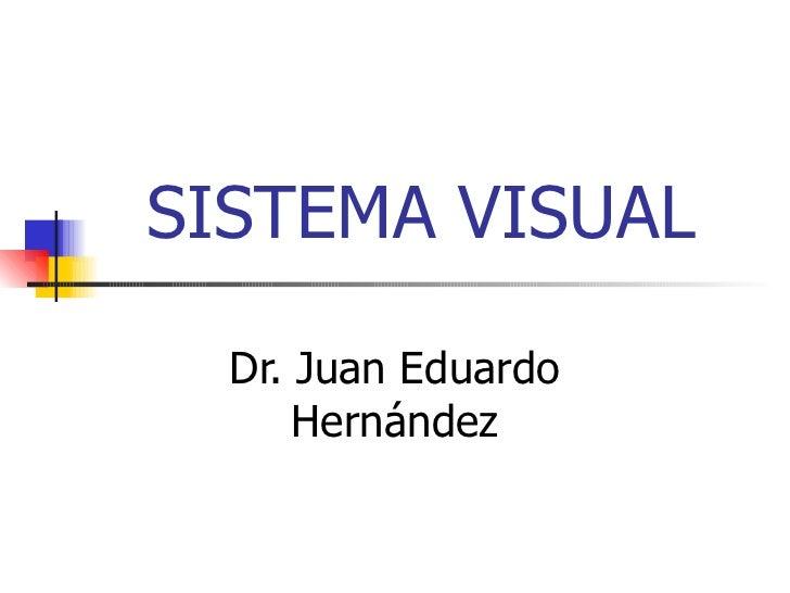 SISTEMA VISUAL Dr. Juan Eduardo Hernández