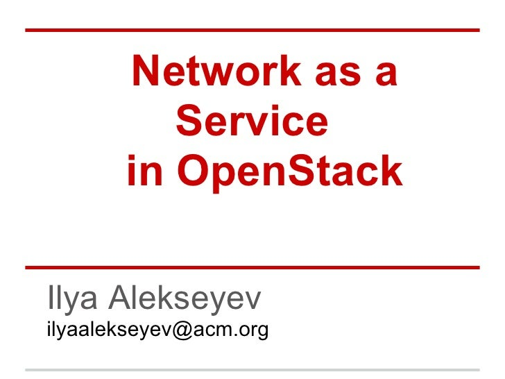 NaaS in OpenStack - CloudCamp Moscow