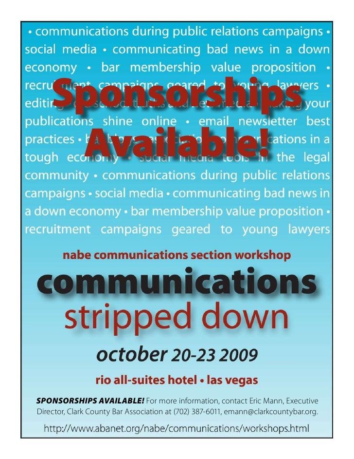 NABE Communications Section Workshop Sponsorship Information