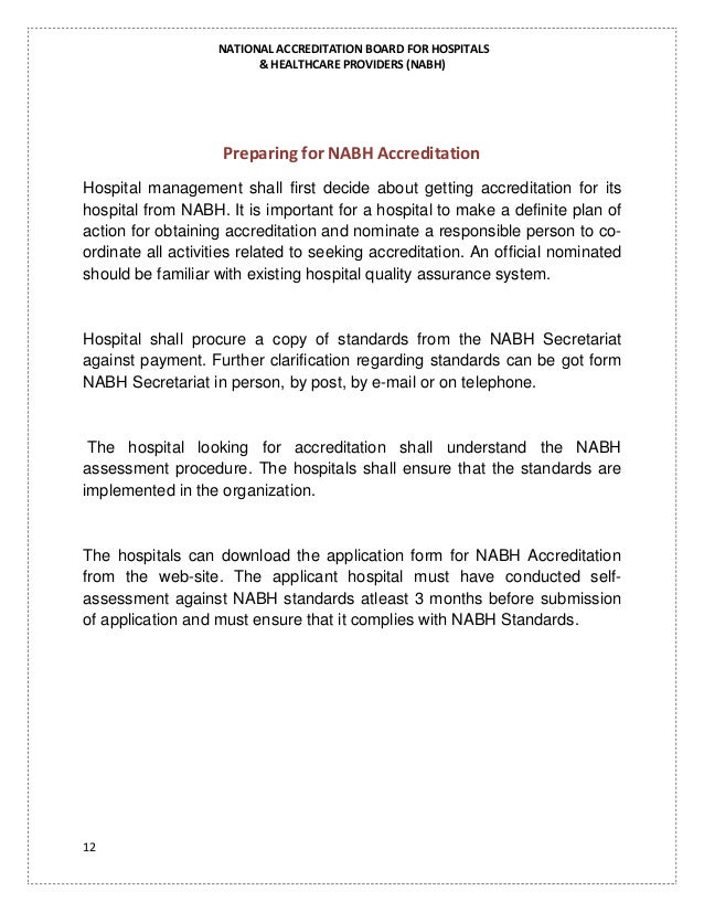nabh procedures and processes for indian hospitals