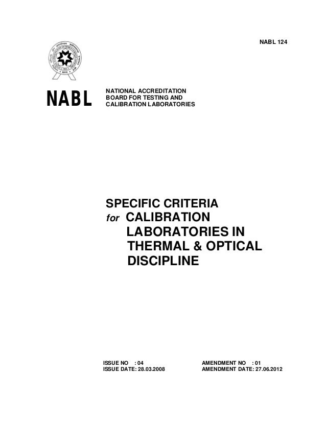 NABL 124  NABL  NATIONAL ACCREDITATION BOARD FOR TESTING AND CALIBRATION LABORATORIES  SPECIFIC CRITERIA for CALIBRATION  ...