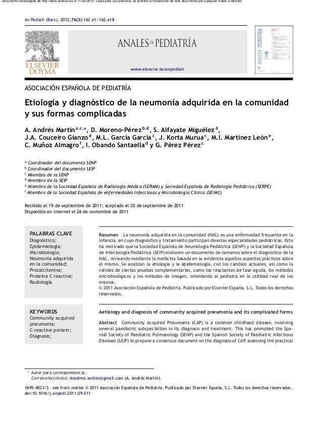 An Pediatr (Barc). 2012;76(3):162.e1---162.e18www.elsevier.es/anpediatrASOCIACIÓN ESPA˜NOLA DE PEDIATRÍAEtiología y diagnó...