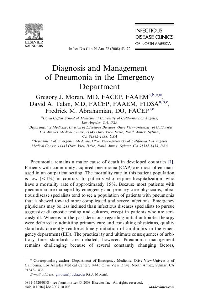Infect Dis Clin N Am 22 (2008) 53–72  Diagnosis and Management of Pneumonia in the Emergency Department Gregory J. Moran, ...