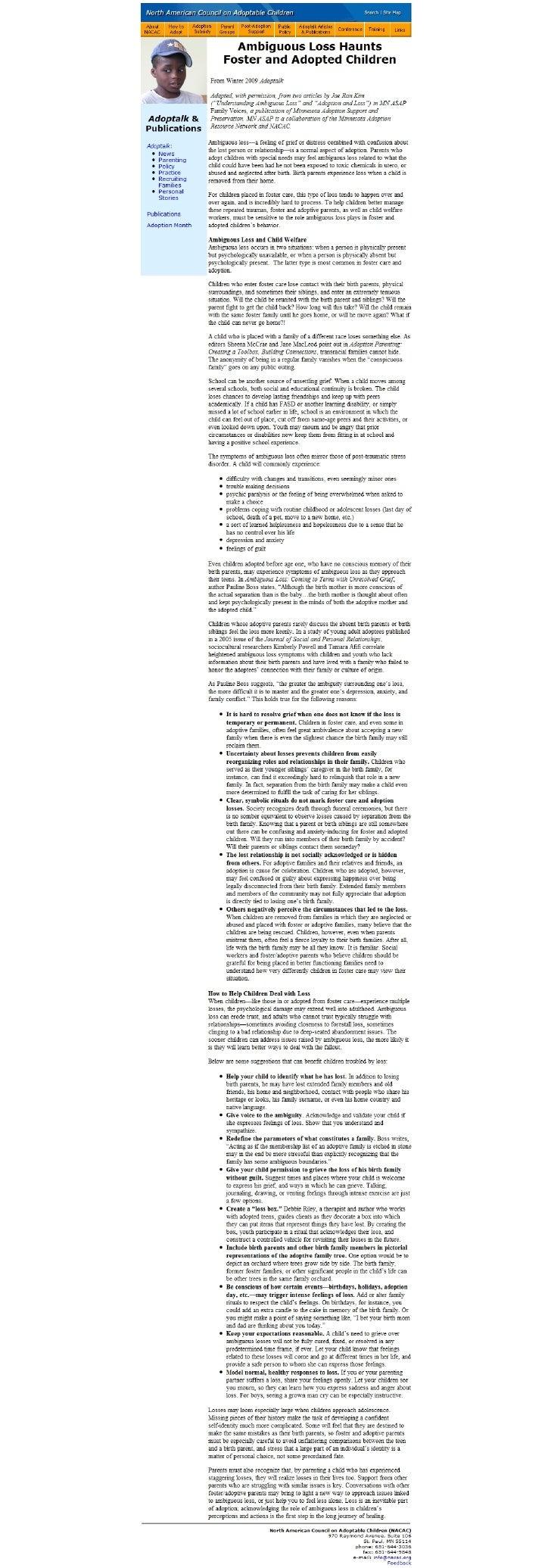 Nacac   Adoptalk Articles & Publications
