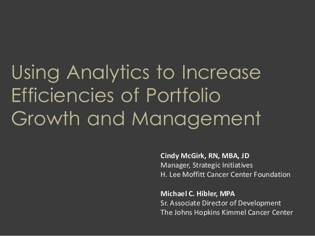 Using Analytics to Increase Efficiencies of Portfolio Growth and Management Cindy McGirk, RN, MBA, JD Manager, Strategic I...