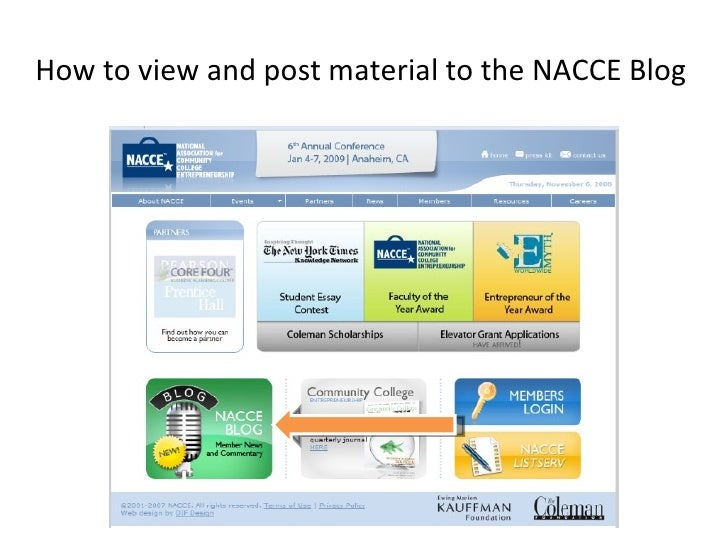 How to view and post material to the NACCE Blog