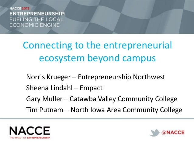 Connecting to the entrepreneurial ecosystem beyond campus Norris Krueger – Entrepreneurship Northwest Sheena Lindahl – Emp...