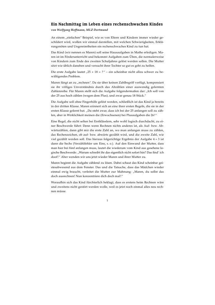 """Ein Nachmittag im Leben eines rechenschwachen Kindes von Wolfgang Hoffmann, MLZ Dortmund  An einem """"einfachen"""" Beispiel, w..."""