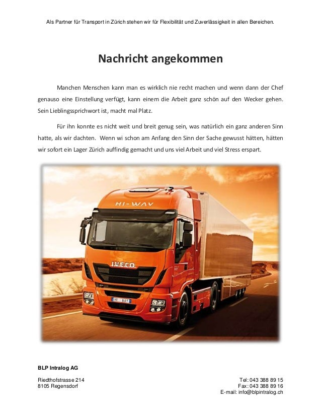 Als Partner für Transport in Zürich stehen wir für Flexibilität und Zuverlässigkeit in allen Bereichen. BLP Intralog AG Ri...