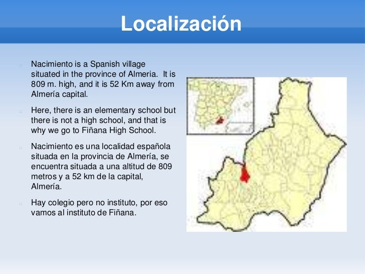 Localización<br />Nacimiento is a Spanish village situated in the province of Almeria.  It is 809 m. high, and it is 52 Km...