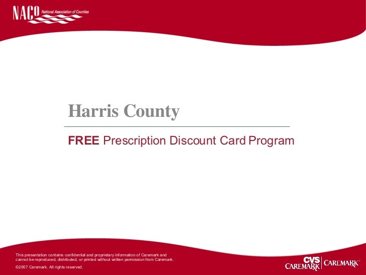 Harris County Free Prescription Discount Card