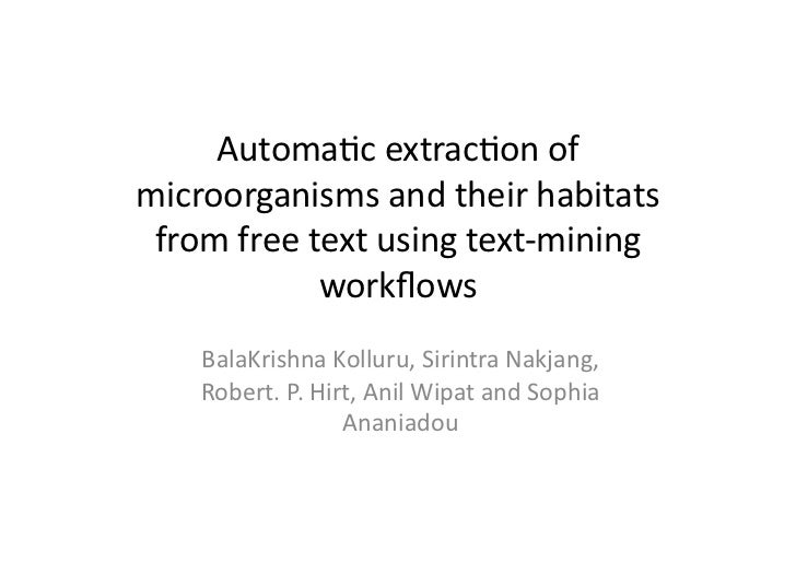 Automatic extraction of microorganisms and their habitats from free text using text-mining workflows