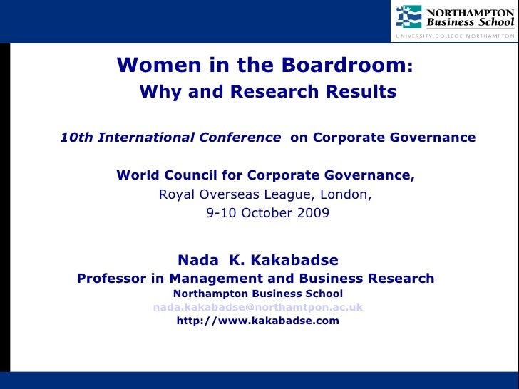 Women in the Boardroom: Why and Research Results