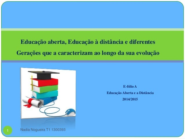 Educação aberta, Educação à distância e diferentes  Gerações que a caracterizam ao longo da sua evolução  E-fólio A  Educa...
