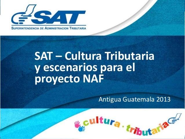 SAT – Cultura Tributaria y escenarios para el proyecto NAF Antigua Guatemala 2013