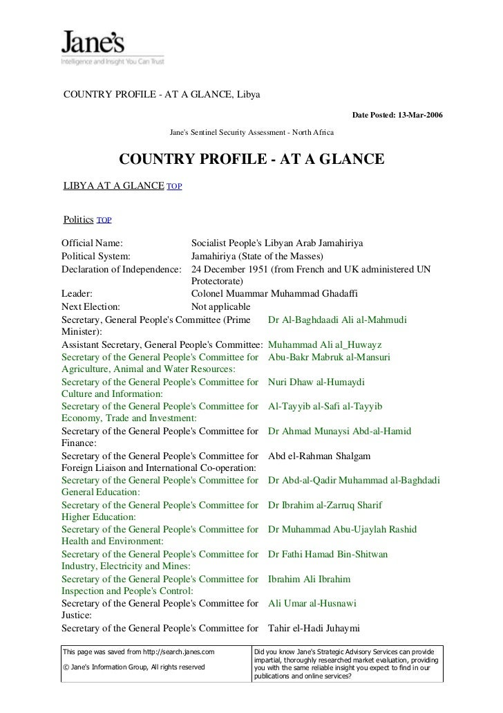 COUNTRY PROFILE - AT A GLANCE, Libya                                                                                      ...