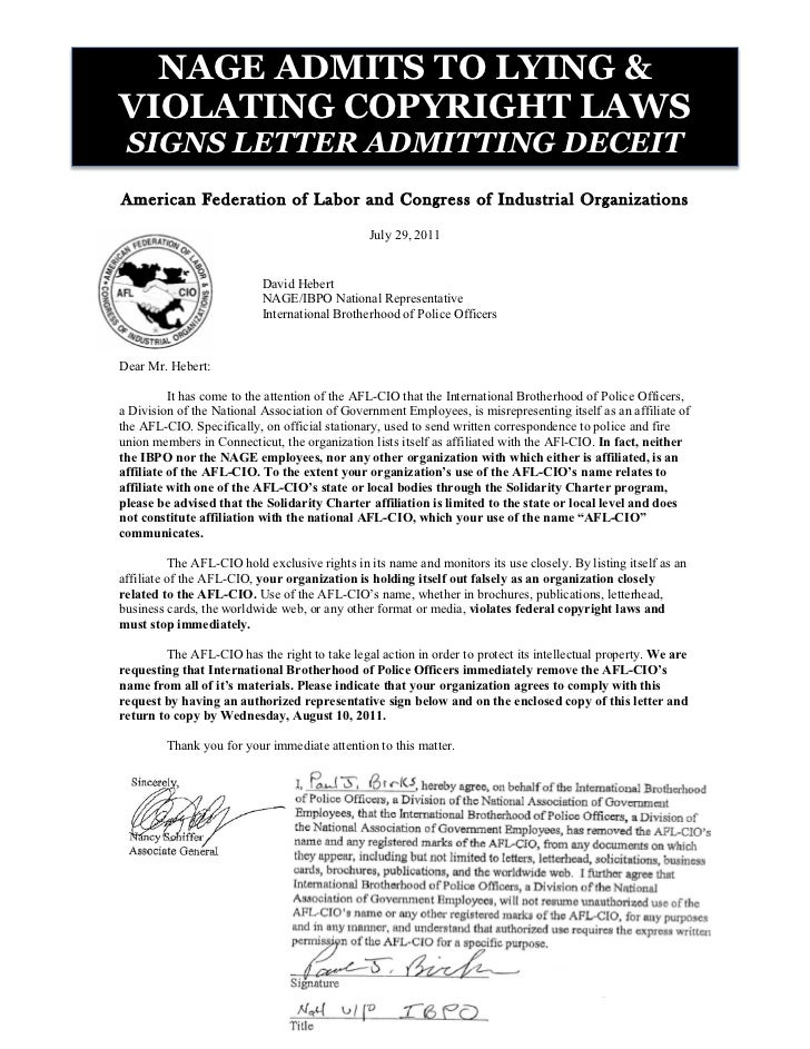 NAGE ADMITS TO LYING &VIOLATING COPYRIGHT LAWS SIGNS LETTER ADMITTING DECEITAmerican Federation of Labor and Congress of I...