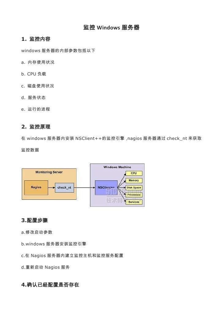 监控 Windows 服务器1. 监控内容windows 服务器的内部参数包括以下a. 内存使用状况b. CPU 负载c. 磁盘使用状况d. 服务状态e. 运行的进程2. 监控原理在 windows 服务器内安装 NSClient++的监控引擎...